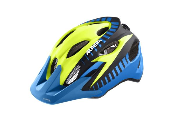 Alpina Carapax Jr.Flash Junior Fahrradhelm - blue yellow-black