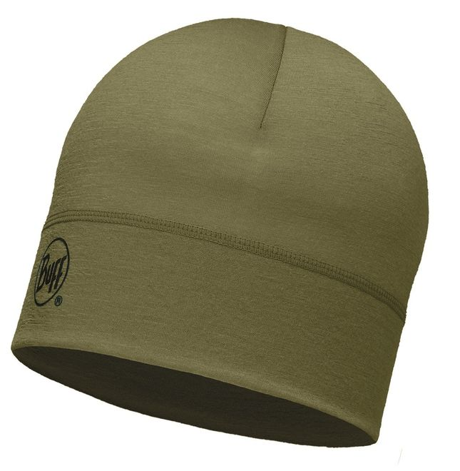 Buff Merino Wool Hat - solid light military