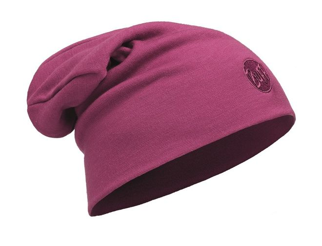 Buff Heavyweight Merino Wool Loose Hat - solid pink cerisse