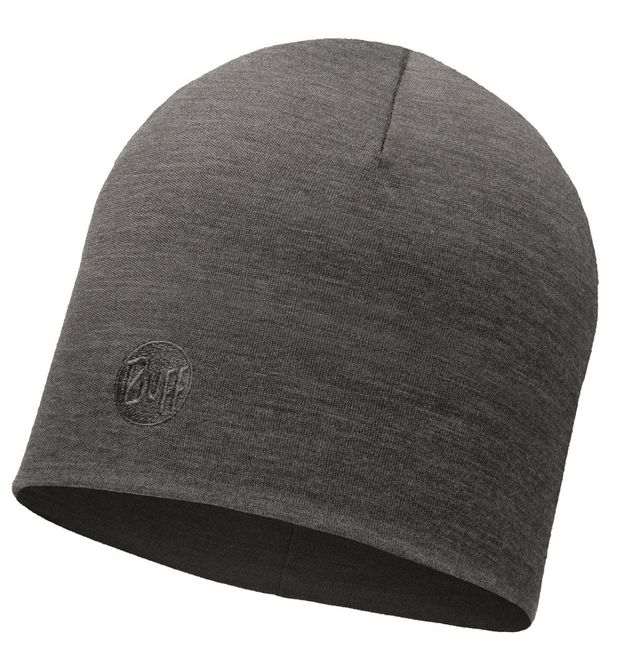 Buff Merino Wool Thermal Hat - solid grey