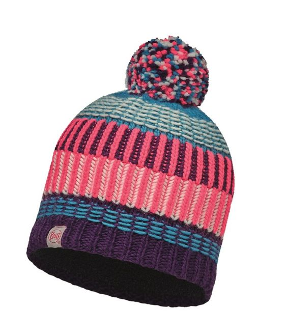 Buff Junior Knitted & Polar Hat Hops - plum - grey vigoré