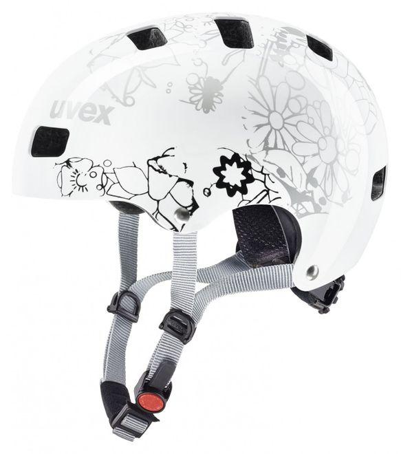 Uvex Kid 3 Kinder-Fahrradhelm - white flower – Bild 2