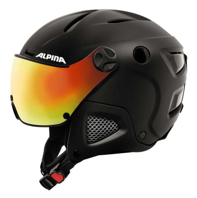 Alpina Attelas Visor QVM Skihelm - black matt