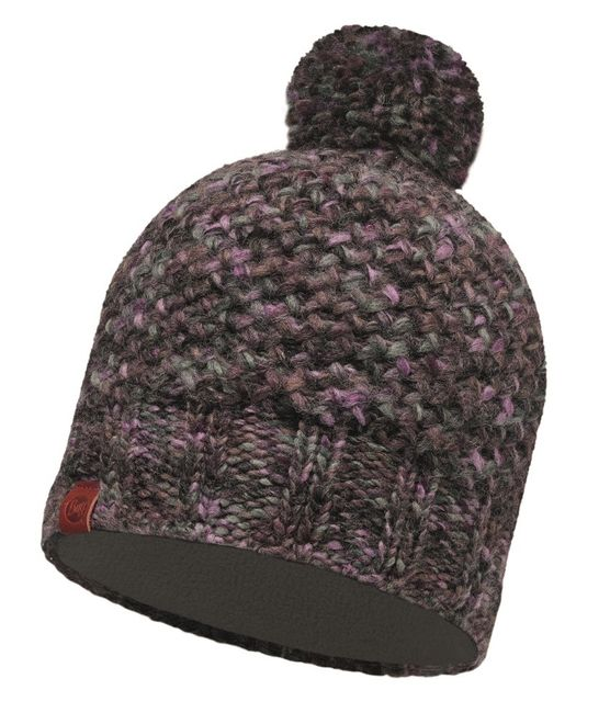 Buff Knitted & Polar Fleece Hat Margo - plum