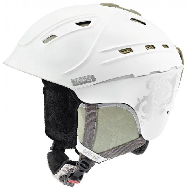Uvex p2us WL Damen-Skihelm - white-prosecco mat