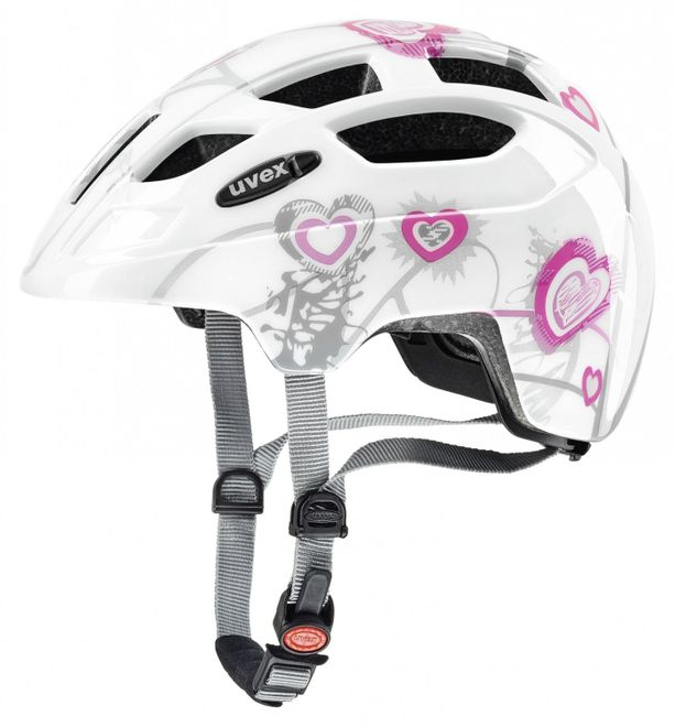 Uvex Finale Junior LED Fahrradhelm - heart white pink
