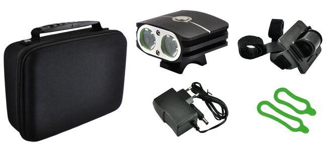 TAQ-PRO LED Akku Helm-Lampe 2000 Lumen - schwarz