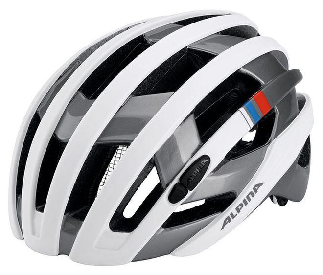 Alpina Campiglio Fahrrad Helm - white-silver blue-red