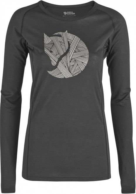 Fjällräven Abisko Trail T-Shirt Printed Langarm Top Damen - Dark Grey