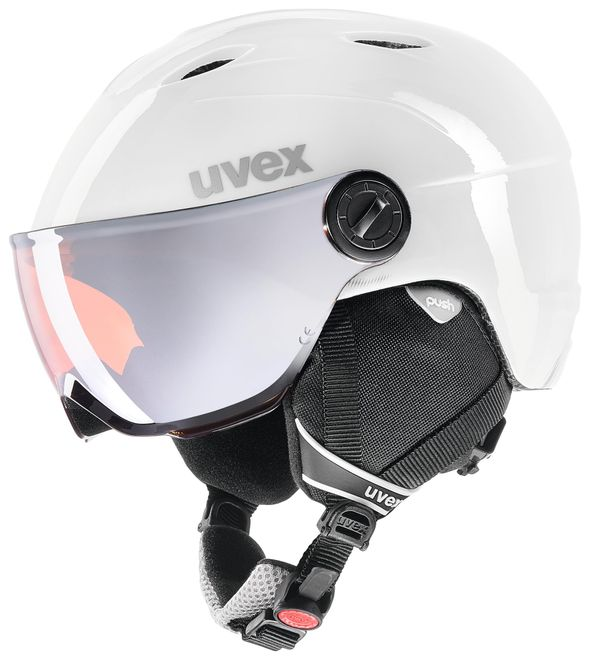 Uvex junior visor pro Kinder Skihelm - white-grey