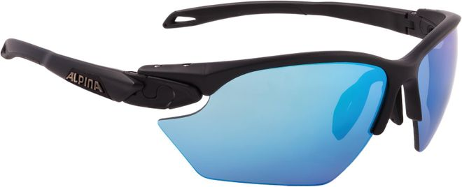 Alpina Sportbrille Twist Five HR S CM+ - black matt Ceramic mirror+ blue