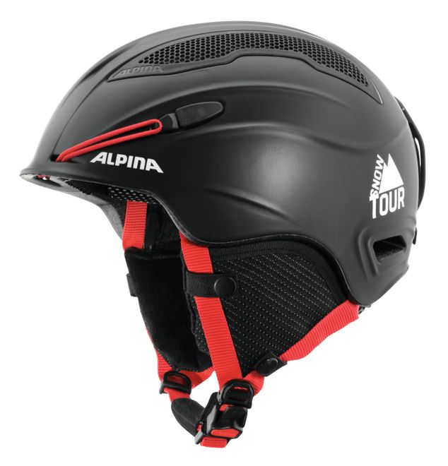 Alpina Skihelm Snow Tour - black red matt