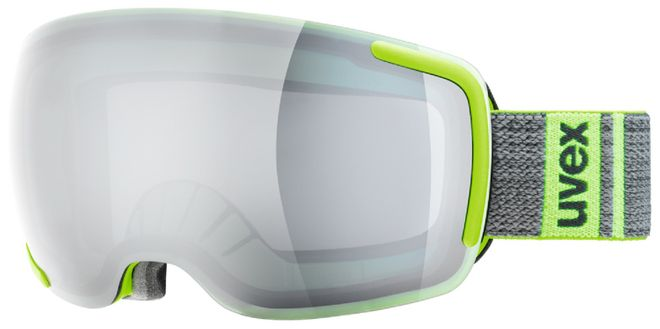 uvex Skibrille big 40 LM, lime mat - double lens spheric litemirror silver - one size
