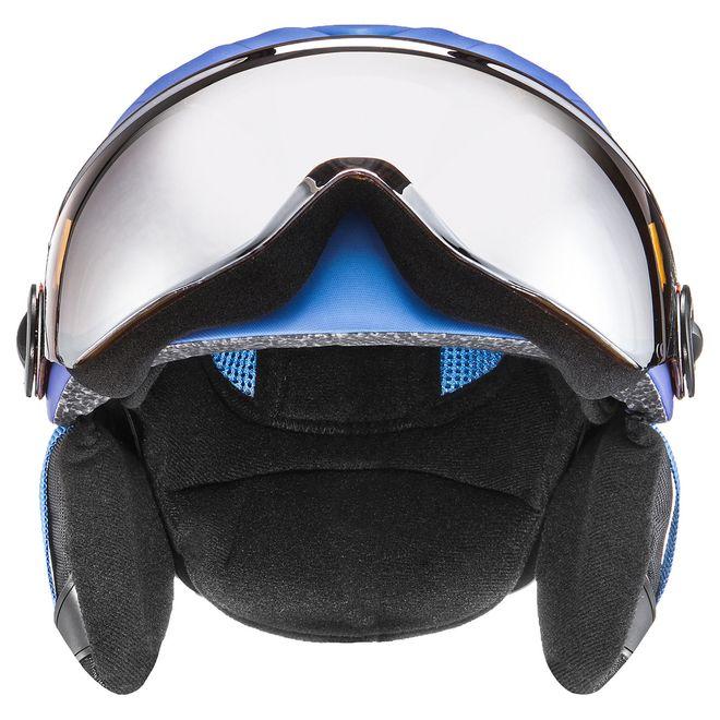 Uvex junior visor pro Skihelm - blue met mat - ltm. silver S2 – Bild 2