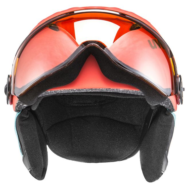 Uvex junior visor pro Skihelm - orange-petrol met mat – Bild 2