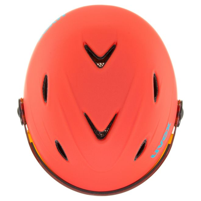 Uvex junior visor pro Skihelm - orange-petrol met mat – Bild 4