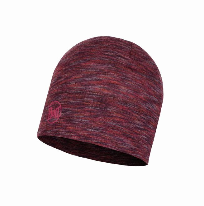 Buff Midweight Merino Wool Hat - shale grey multi stripes