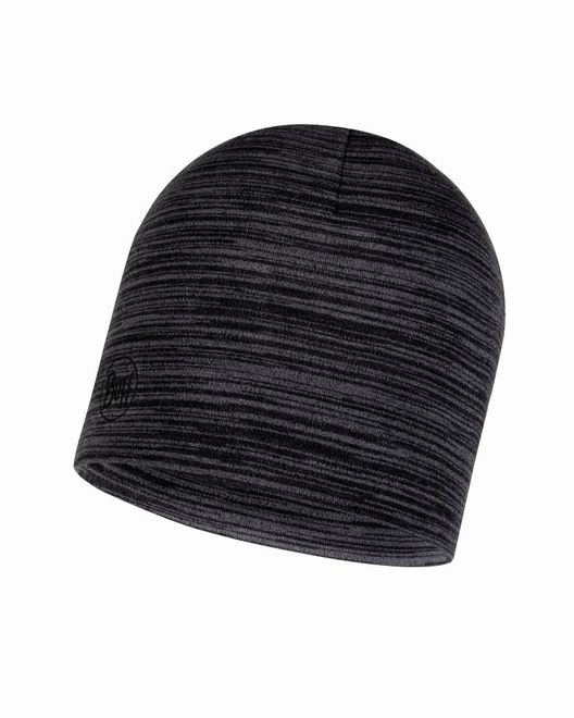 Buff Midweight Merino Wool Hat - castlerock grey multi stripes