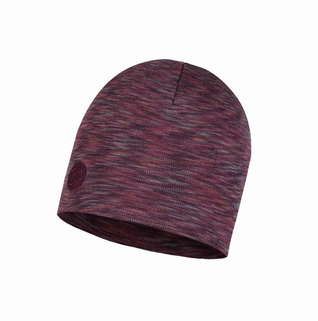 Buff Heavyweight Merino Wool Hat - shale grey multi stripes