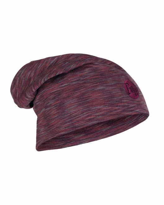 Buff Heavyweight Merino Wool Loose Hat - shale grey multi stripes