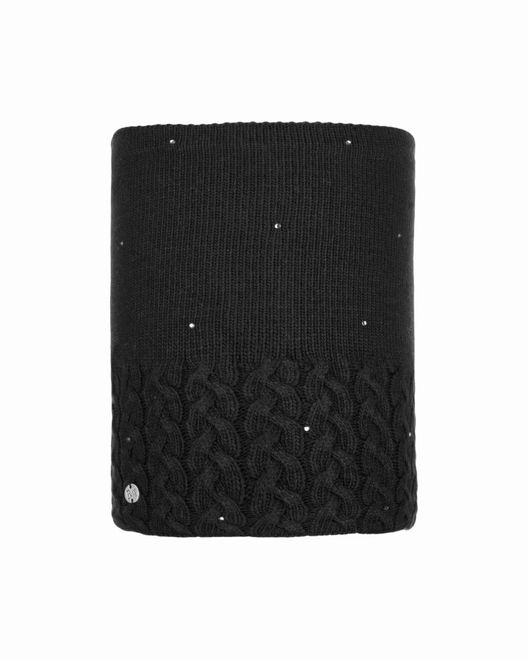 Buff Chic Neckwarmer Knitted & Polar Fleece Elie - black