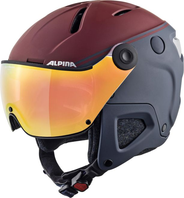 Alpina Attelas Visor QVMM Skihelm - nightblue-bordeaux matt – Bild 1