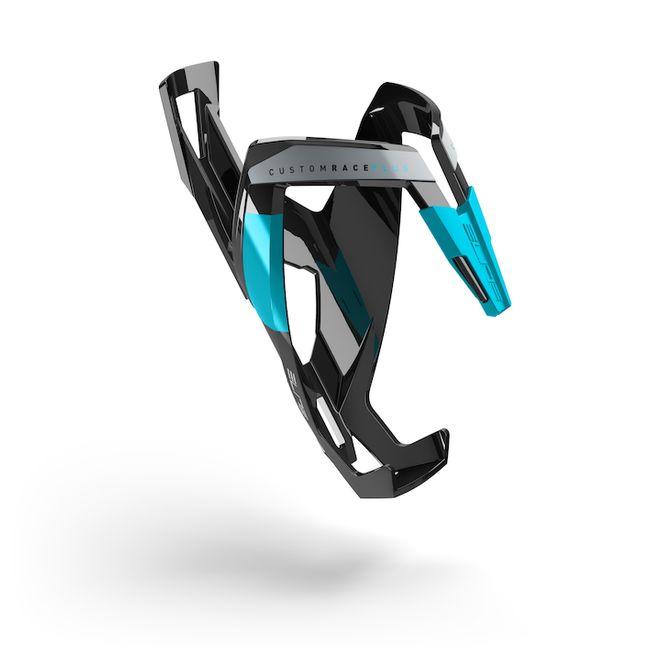 Elite Flaschenhalter Custom Race Plus - schwarz glossy / Graphik light blue