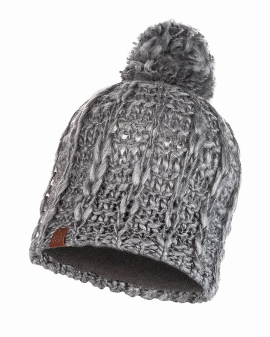 Buff Knitted & Polar Fleece Hat Liv - pebble grey