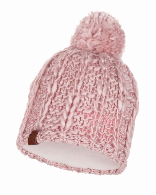 Buff Knitted & Polar Fleece Hat Liv - coral pink