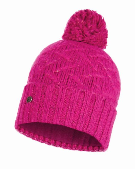 Buff Chic Knitted & Polar Fleece Hat Ebba - bright pink