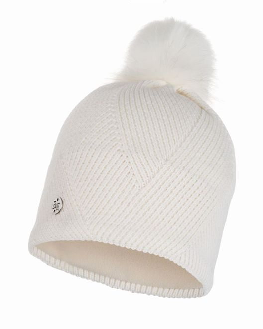 Buff Chic Knitted & Polar Fleece Hat Disa - fog