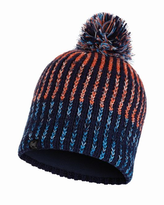 Buff Knitted & Polar Fleece Hat Iver - medieval blue