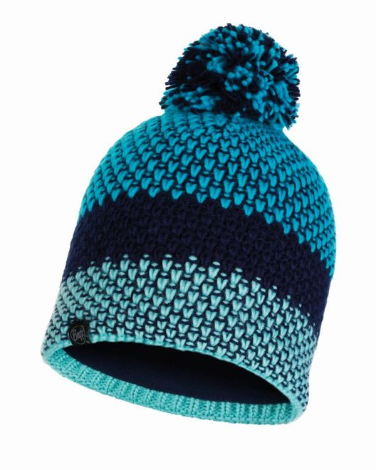 Buff Knitted & Polar Fleece Hat Tilda - curacao blue
