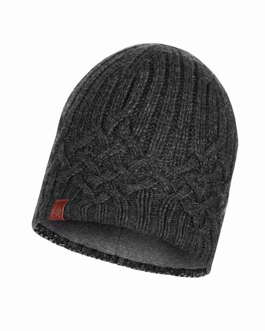Buff Knitted & Polar Fleece Hat Helle - graphite