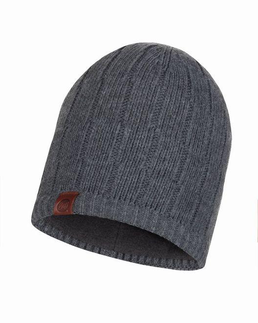 Buff Knitted & Polar Fleece Hat Jeroen - grey