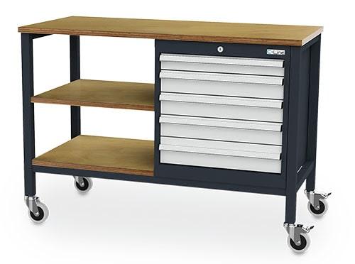 Mobile Kastenwerkbank mit Fachböden und Schubladenschrank