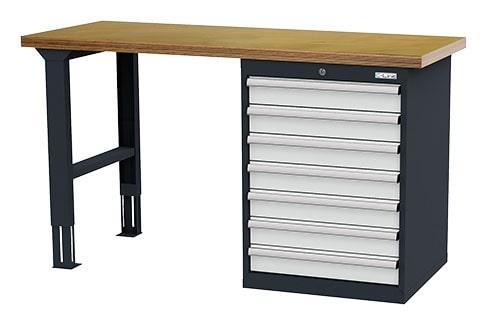 Reihenwerkbank höhenverstellbar mit Schubladenschrank