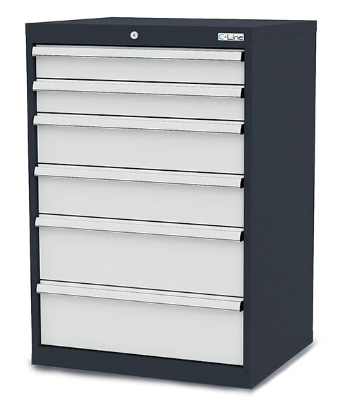 Schubladenschrank mit 6 Schubladen, Breite 700 mm von Simplaflex