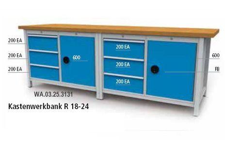 Kastenwerkbank mit Schubladen und Flügeltüren, B/T/H/2500x750x859 – Bild 1