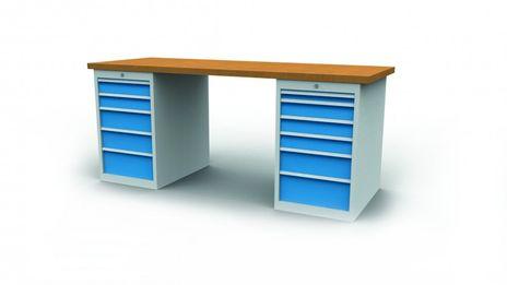 Reihenwerkbank R 18-24 mit 11 Schubladen, 2 Schubladenschränke