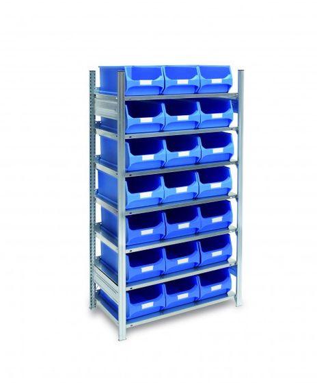 Fachbodenregal mit 21 Sichtlagerkästen blau, 500 mm tief – Bild 1