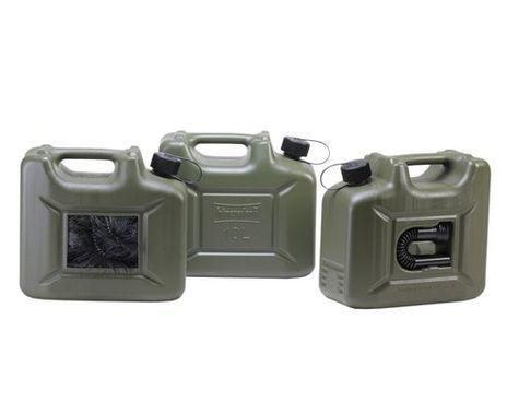 "Transport Kraftstoff Kanister ""PROFI"" (UN) 10 L, oliv, mit Auslaufrohr – Bild 1"