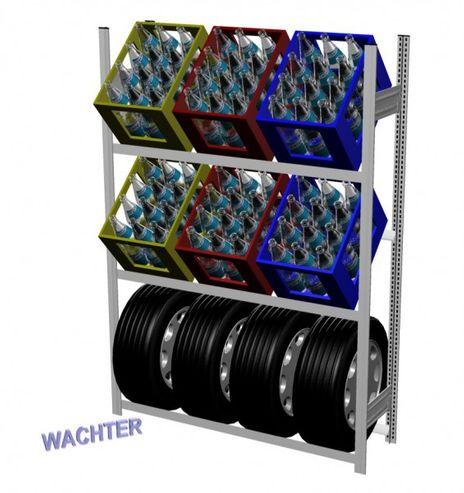 Getränkekisten- und Reifenregal mit 2 Kistentraversen – Bild 1