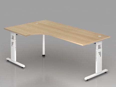 Winkelform-Schreibtisch OS82, 200 x 120 cm, eiche, Gestell weiß