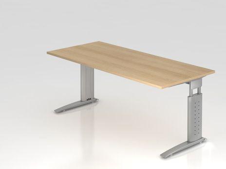Rechteckform-Schreibtisch US19, 180 x 80 cm, eiche, Gestell silbergrau