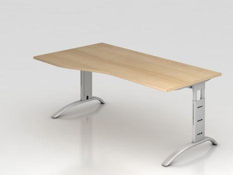 Bogenform-Schreibtisch FS18, 180 x 100 cm, eiche, Gestell silber