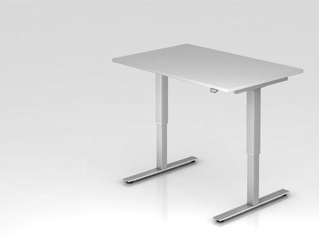 Schreibtisch XMST12, 120 x 80 cm, elektrisch höhenverstellbar, Grau