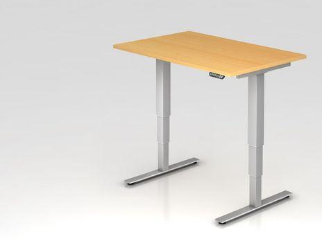 Schreibtisch XDSM12, 120 x 80 cm, elektrisch höhenverstellbar, Buche