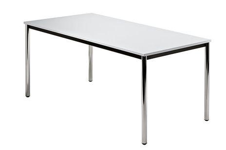 Vierfusstisch B/T: 1600 x 800 mm mit rundem Tischfuss, Platte: Grau, Gestellfarbe: Chrom – Bild 1