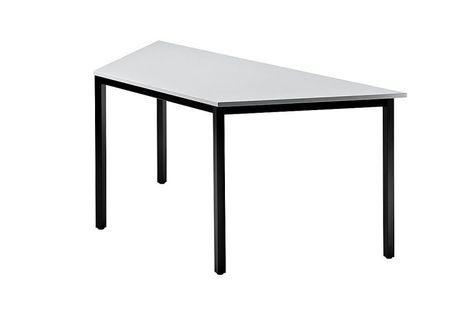 Trapeztisch B/T: 1600 x 690 mm mit eckigem Tischfuss, Platte: Grau – Bild 1